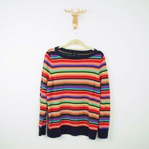 Talbots Sweater Striped Rainbow Wool Blend